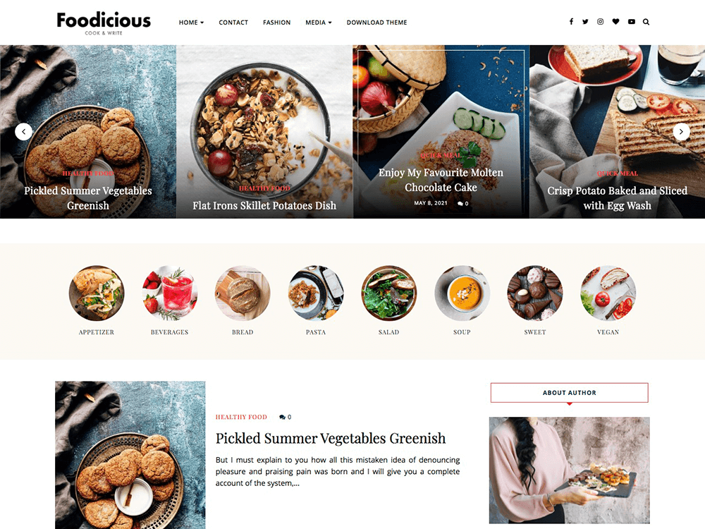 foodicious free wordpress theme